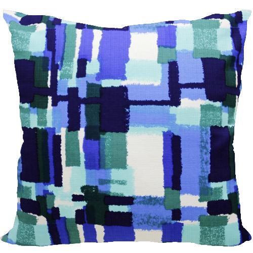 [Oi] 블루 컬러의 붓터치 패턴 쿠션 블루페인팅 (blue painting)